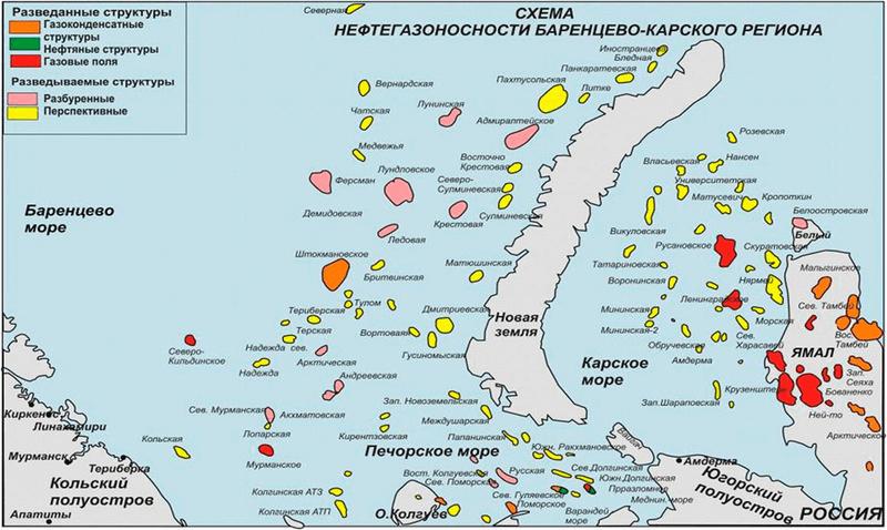 Схема нефтегазоносности Баренцево-Карского региона