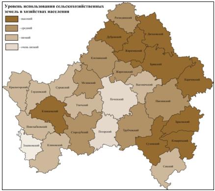 Районы Брянской области по уровню использования сельскохозяйственных угодий хозяйствами населения
