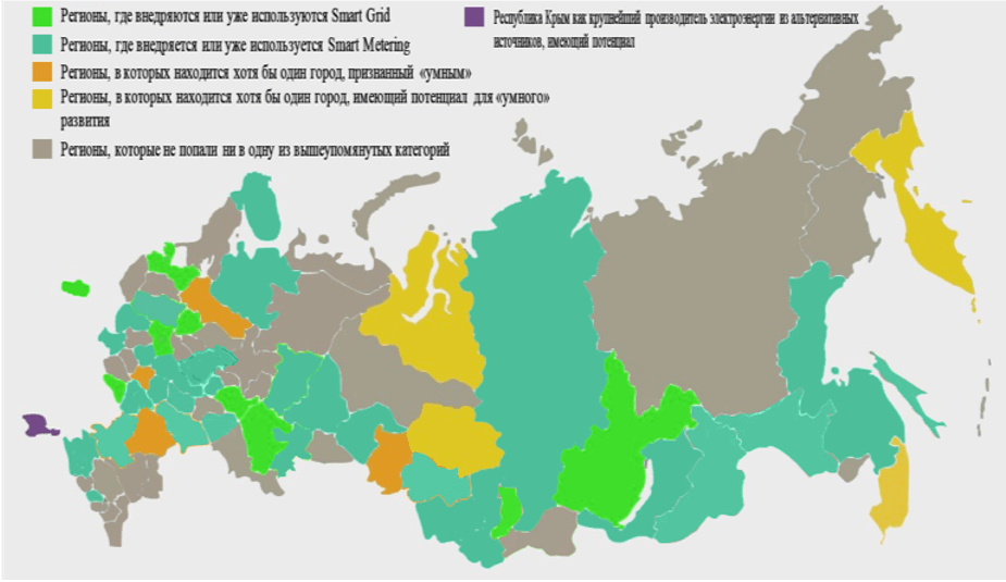Карта России, отражающая текущий уровень развития интеллектуальных энергосетей.