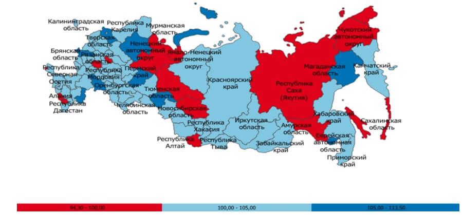 Индекс производительности труда в разрезе субъектов РФ (% к предыдущему году), в целом по РФ, 2017 г.