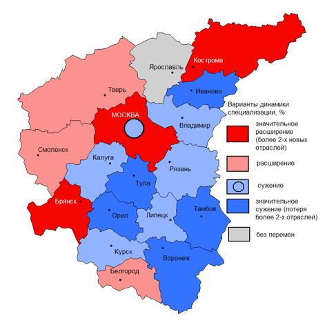 Динамика специализации экономики регионов ЦФО в 2005–2016 гг. (по изменению количества отраслей специализации)