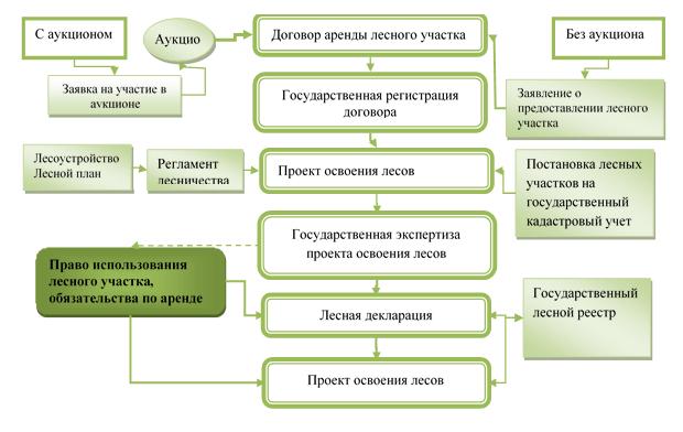 Процесс взаимодействия участников лесных отношений по вопросам организации использования лесов