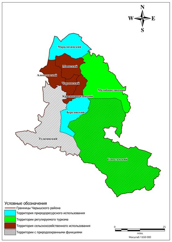 Зонирование территории Чарышского района по результатам ресурсной оценки