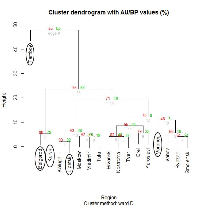 Дендрограмма построенная по методу иерархической кластеризации с использованием библиотеки (pvclust) по абсолютным расстояниям между векторами методом агломерации.